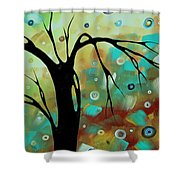 Abstract Art Original Landscape Painting Colorful Circles Morning Blues IIi By Madart Shower Curtain
