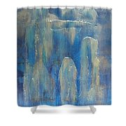 Abstract Blue Ice Shower Curtain