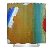 Abstract Blue With Red Sun Shower Curtain