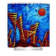 Abstract Cityscape Art Original City Painting The Lost City II By Madart Shower Curtain