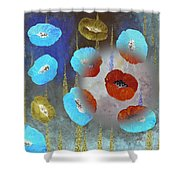 Abstract Colorful Poppies Shower Curtain