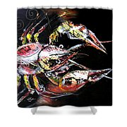 Abstract Crawfish Shower Curtain