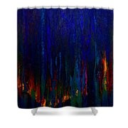 Abstract Evergreens Shower Curtain by Claire Bull