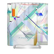 Abstract Flying Objects Shower Curtain