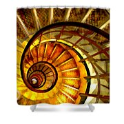 Abstract Golden Nautilus Spiral Staircase Shower Curtain