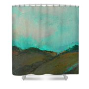 Abstract Landscape - Turquoise Sky Shower Curtain