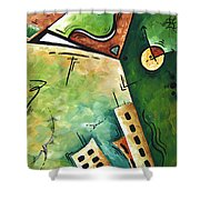 Abstract Martini Cityscape Contemporary Original Painting Martini Hour By Madart Shower Curtain