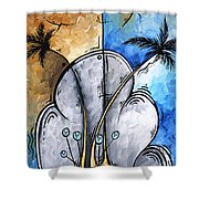 Abstract Martini Tropical Contemporary Original Painting Martini On The Beach By Madart Shower Curtain
