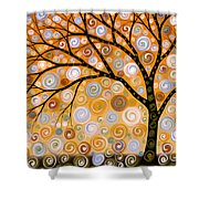 Abstract Modern Tree Landscape Dreams Of Gold By Amy Giacomelli Shower Curtain