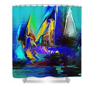 Abstract Regatta Shower Curtain