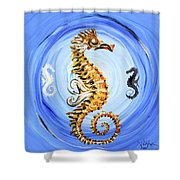 Abstract Sea Horse Shower Curtain