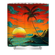 Abstract Surreal Tropical Coastal Art Original Painting Tropical Burn By Madart Shower Curtain