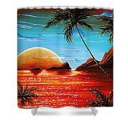 Abstract Surreal Tropical Coastal Art Original Painting Tropical Fusion By Madart Shower Curtain