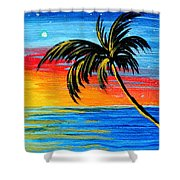 Abstract Tropical Palm Tree Painting Tropical Goodbye By Madart Shower Curtain