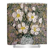Abstract Wild Roses Heavy Impasto Shower Curtain