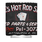 Ace's Hot Rod Shop Shower Curtain by Clarence Holmes