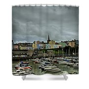 Across Tenby Harbour Shower Curtain