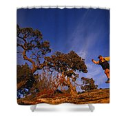Adam Lederer Trail-runs Near Dolores Shower Curtain
