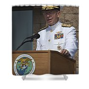 Admiral Mike Mullen Speaks Shower Curtain by Michael Wood