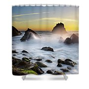 Adraga Beach Shower Curtain by Carlos Caetano