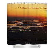 Aerial Sunset Of The Suisun Slough Shower Curtain