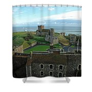 Aerial View Of Dover Castle Shower Curtain
