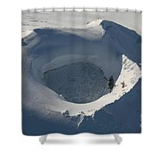 Aerial View Of Frozen Lake In Summit Shower Curtain by Richard Roscoe
