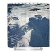 Aerial View Of Glaciated Mount Douglas Shower Curtain