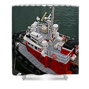 Aerial View Of Red Tug  Shower Curtain