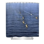 Aerial View Of Ships In Formation Shower Curtain