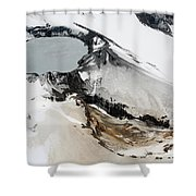 Aerial View Of Snow-covered Ruapehu Shower Curtain