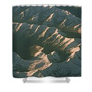 Aerial View Of Snowcapped Mountain Shower Curtain
