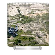 Aerial View Of Stage Harbor Light In Chatham On Cape Cod Massac Shower Curtain
