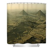 Aerial View Of The Pyramids Of Giza Shower Curtain