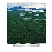 Aerial View Of The Salak River. Mount Shower Curtain