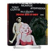 Affenpinscher Some Like It Hot Movie Poster Shower Curtain