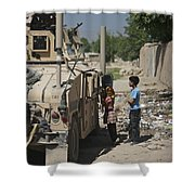 Afghan Children Ask U.s. Soldiers Shower Curtain