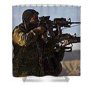 Afghan National Army Commandos Aim Shower Curtain