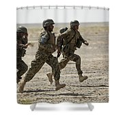 Afghan National Army Soldiers Run Shower Curtain