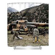 Afghan National Army Soldiers Unload Shower Curtain