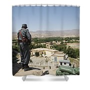Afghan Policeman Standing Shower Curtain