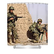 Afghan Soldiers Conduct A Dismounted Shower Curtain by Stocktrek Images