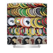 African Beaded Earrings Shower Curtain