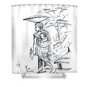 African Rural Woman Shower Curtain