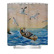 After A Fishing Day Shower Curtain