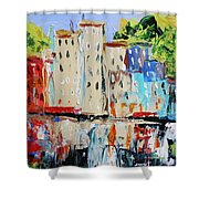After Hours-reflection Shower Curtain