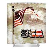 Aged Usa Flag On Pole Shower Curtain