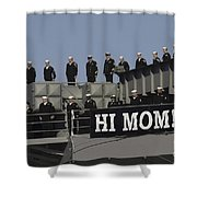 Ailors And Marines Man The Rails Aboard Shower Curtain by Stocktrek Images
