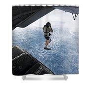 Air Force Pararescueman Jumps Shower Curtain