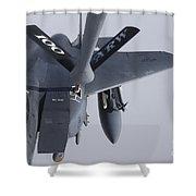 Air Refueling A F-15e Strike Eagle Shower Curtain by Daniel Karlsson